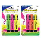 Fluorescent Highlighters With Pocket Clip 3/Pack
